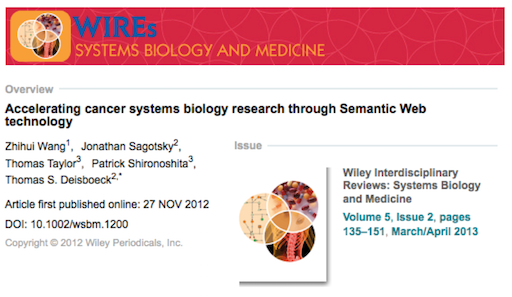 accelerating cancer systems biology research through Semantic Web technology
